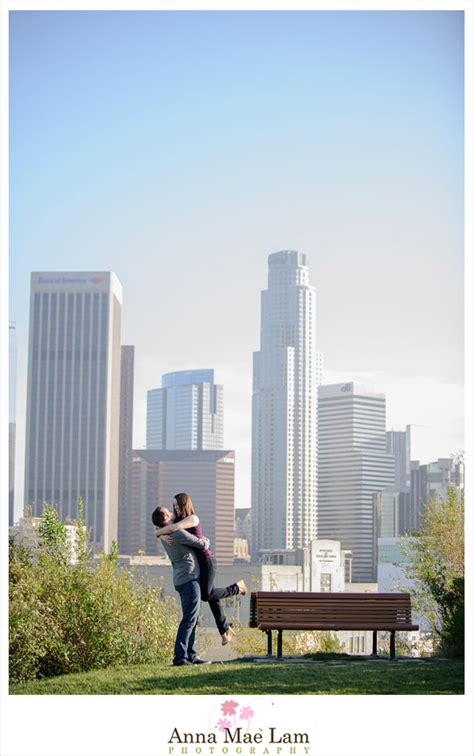 places for wedding photoshoot in los angeles downtown los angeles skyline engagement photography