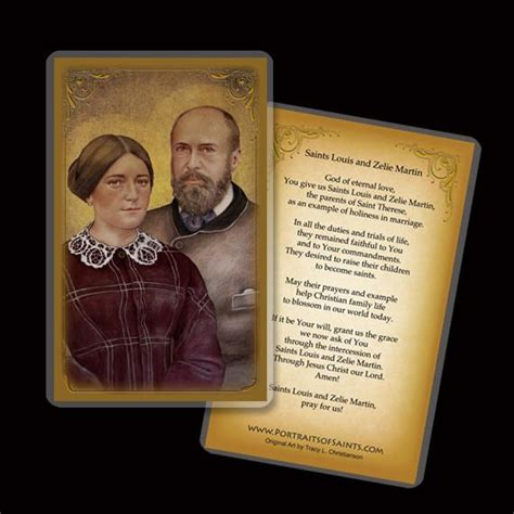 cards with sts sts louis zelie martin holy card portraits of saints