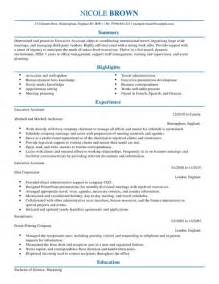 resume template for executive assistant executive assistant cv exle for admin livecareer