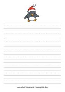 christmas writing paper christmas penguin writing paper xmas border writing paper