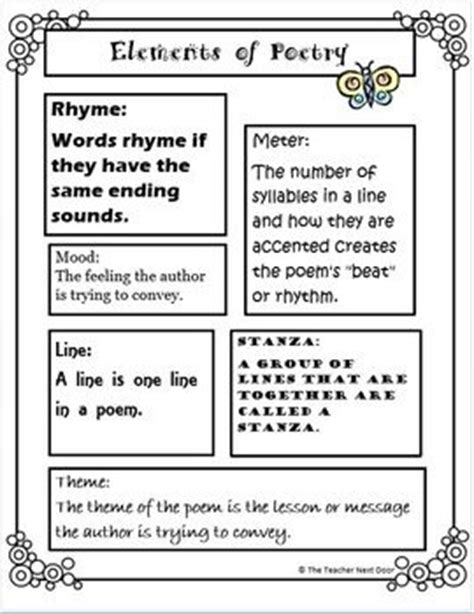 Elements Of Poetry Worksheet by Elements Of Poetry Drama And Prose For 3rd 5th Grade
