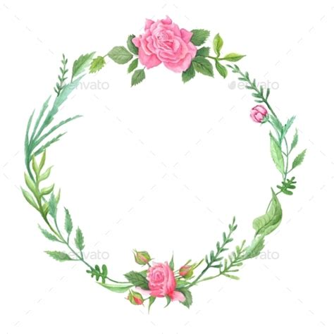 Alas Foto Motif Shabby Chic S002 green watercolor wreath with roses by kisika graphicriver