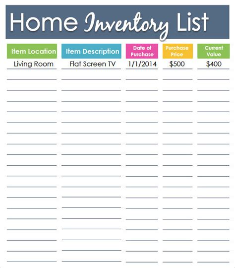 Home Inventory by Sle Inventory List Template 7 Free Documents