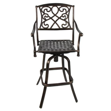 Patio Bar Chairs Swivel by Outdoor Cast Aluminum Swivel Patio Bar Stool Copper