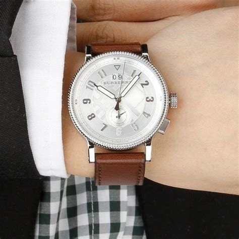 original burberry mens antique style silver leather
