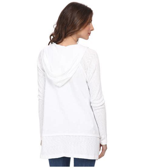 dkny zip front hoodie in white lyst