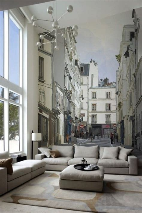 Whole Wall Murals whole wall mural in living room shows view of old european