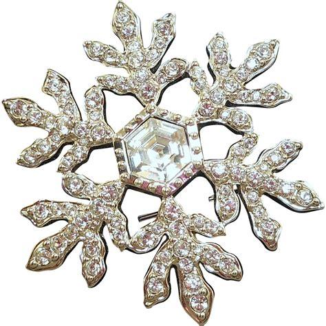 Rhinestone Snowflake Brooch swarovski snowflake brooch from antiqueali on ruby