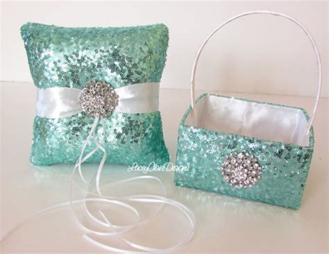 Wedding Pillow Sets by Sequin Flower Basket And Wedding Ring Pillow Set Custom