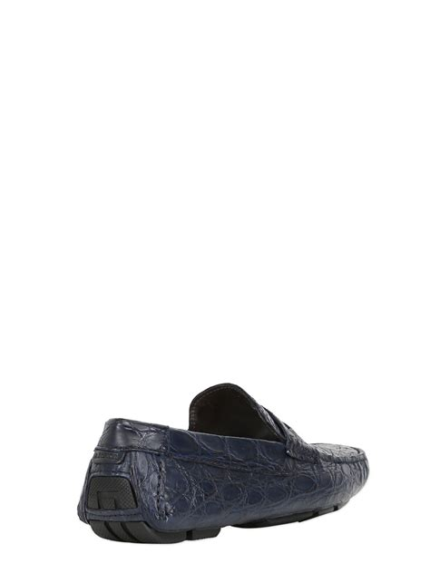 a testoni shoes a testoni crocodile leather driving shoes in blue for