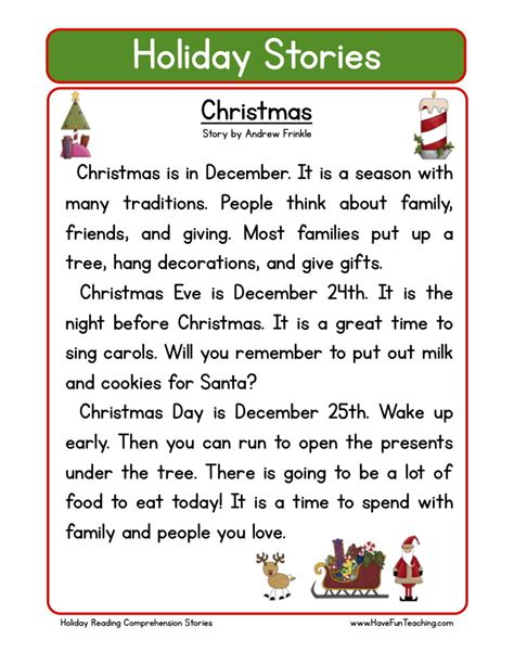 Free Christmas Printable Worksheets Reading Comprehension | reading comprehension worksheet christmas