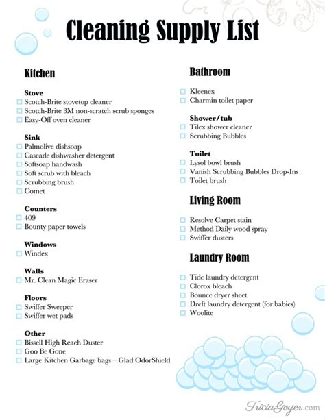 room supply list cleaning cleaning supply list