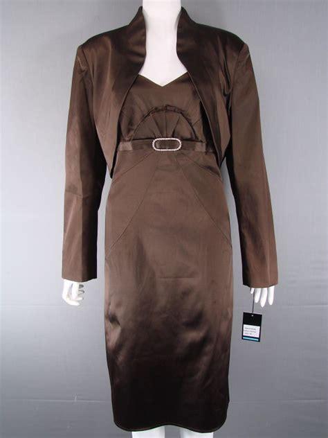 Coffe Bolero frank usher coterie coffee brown satin bolero jacket dress suit size18 22 ebay