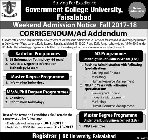 Mba And Ms In Nutrition by Admission Open In Govt College Gcu Faisalabad
