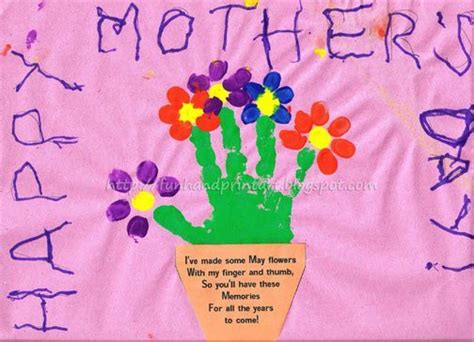 Birthday Card Template Handprint by Handprint And Fingerprint Flowerpot With Poem For S