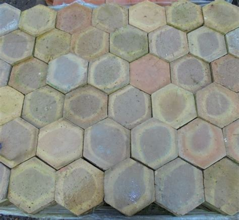 Handmade Floor Tiles - salvaged handmade hexagonal floor tiles authentic