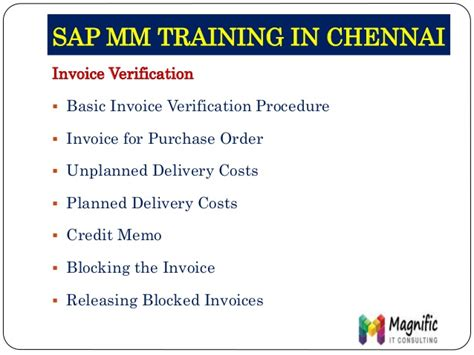 Basic Invoice Verification Procedure In Sap Mm | sap material management mm online training usa uk canada pune