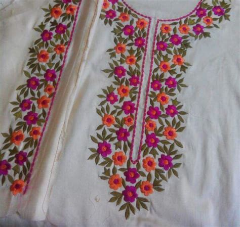 Handmade Embroidery Designs Suits - machine embroidered cotton suit in color with multi