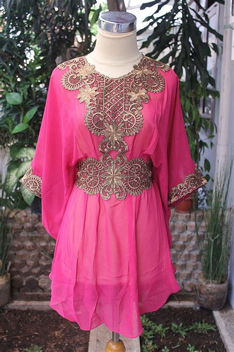 Kr Kaftan Eliza Tosca moroccan pink chiffon blouse fancy gold embroidery dubai abaya tunic kaftan dress for