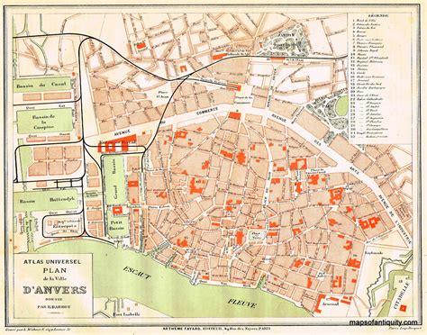 plan com plan de la ville d anvers antique maps and charts