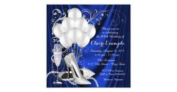 Bath Wall Stickers womans royal blue and silver birthday party luxe card