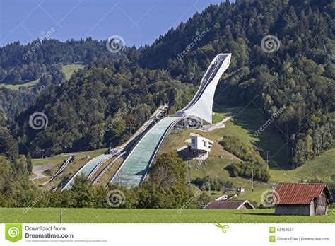 design of ski jump hill ski jump in summer editorial photography image 63194527