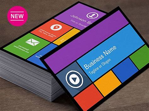 Windows Business Card Template windows 8 metro ui style business card templates