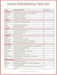 home maintenance home maintenance task list template word