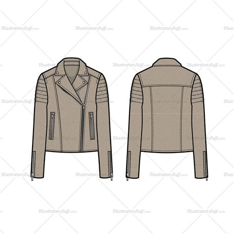 leather pattern ai trapunto shoulder leather moto jacket flat template