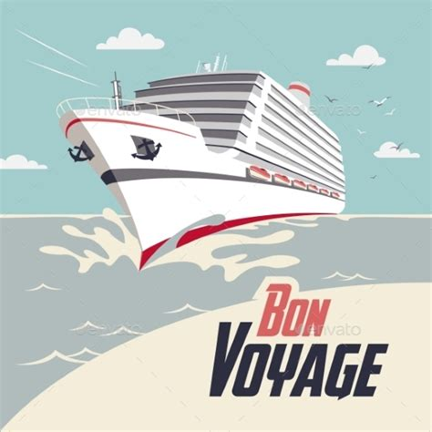 cruise ship bon voyage illustration by stockillustrator