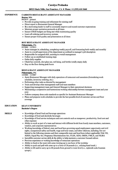 Resume For Restaurant Manager by Restaurant Assistant Manager Resume Sles Velvet