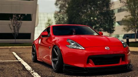 nissan fairlady 370z wallpaper red cars nissan parking lot nissan fairlady z34 370z