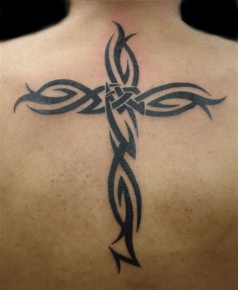 cross tattoos on back for men most popular tribal ideas for and