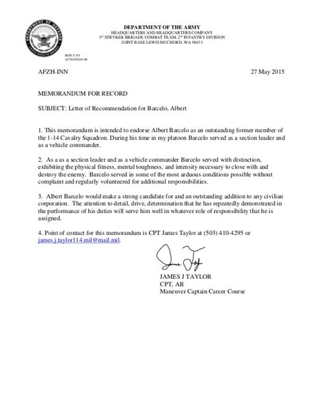 Recommendation Letter Exle Army Ssg Barcelo Letter Of Recommendation