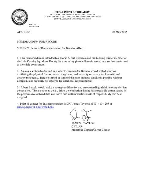 Endorsement Letter Army Ssg Barcelo Letter Of Recommendation