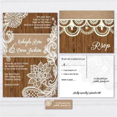 rustic wedding invitation wood and lace wedding invitation wood lace wedding invitation suite burlap and lace wood panel look wedding invitations rustic
