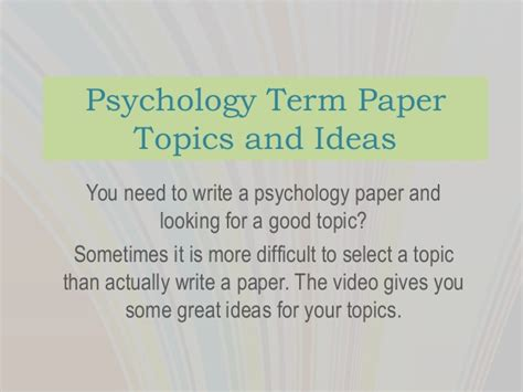 research topics in psychology for a research paper psychology term paper topics