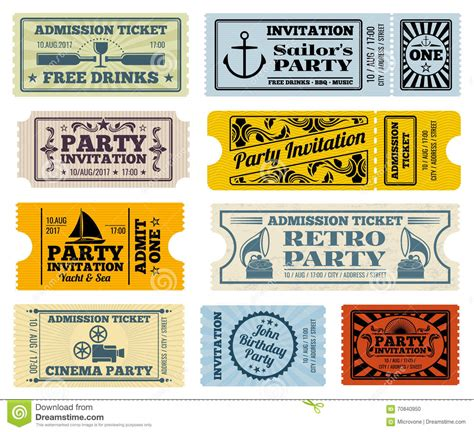retro ticket place card template retro cinema invitation vector tickets set stock
