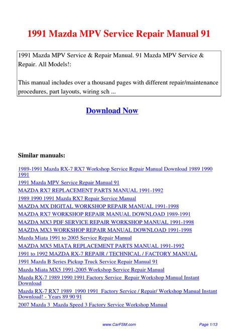 manual repair free 1990 mazda mpv on board diagnostic system 1991 mazda mpv service repair manual 91 by hui zhang issuu