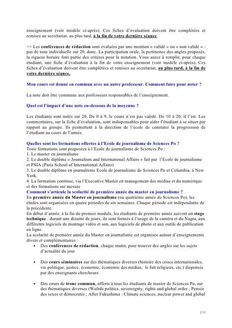 Lettre De Motivation école Journalisme Faq Enseignants 2012 2013 Ecole De Journalisme De Sciences Po