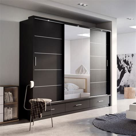 Wardrobe Designs With Mirror For Bedroom Sliding Door Wardrobe Arti 1 With A Mirror 250cm Black Matt Wardrobe Sliding