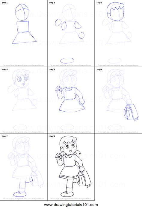 how to draw doodle step by step how to draw shizuka from doraemon printable step by step