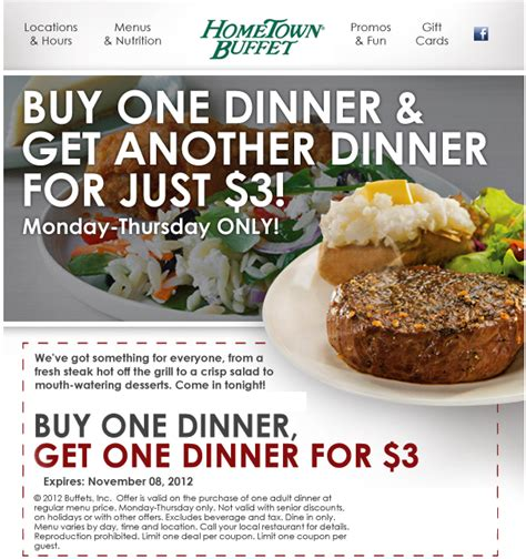 hometown buffet buy 1 dinner get 1 for 3 00