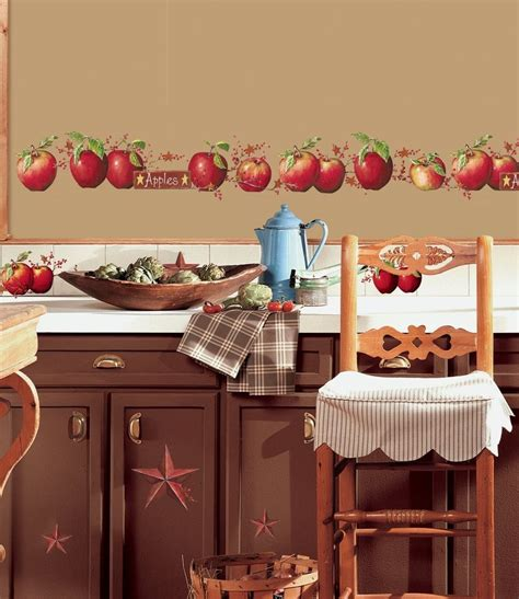 apples 40 big wall decals country border kitchen