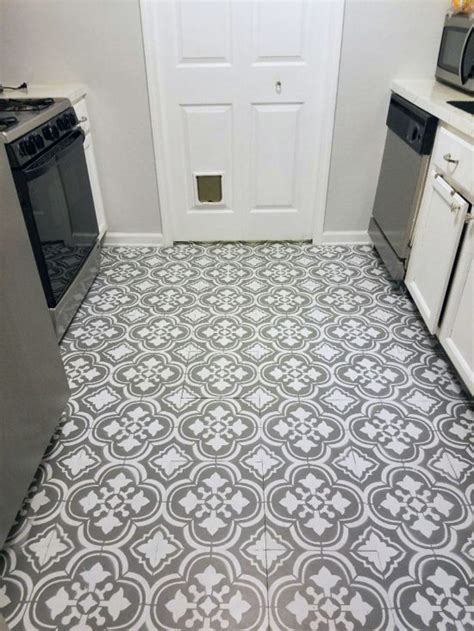 update a dated linoleum floor with a stencil stencil