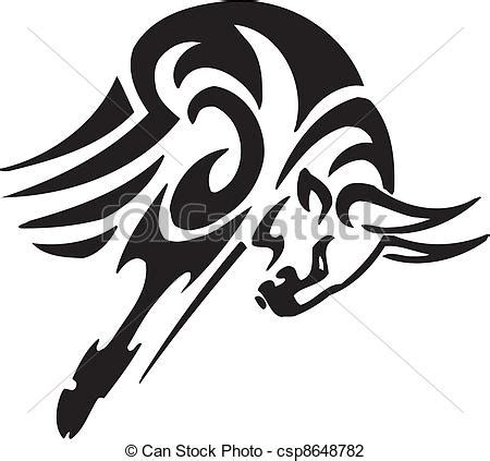 monochrome drawing bull tribal patterns on stock vector vector illustration of bull in tribal style vector image