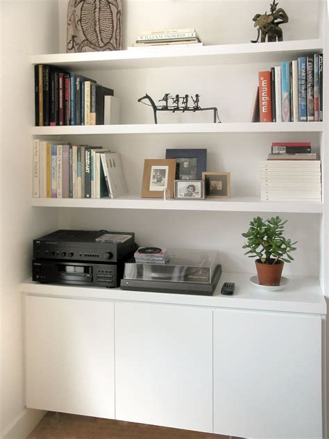 Plain White Shelves Alcove Storage Idea Plain White Best Toys