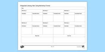 Integrated Literacy Using Workshop Format Planning Template Workshop Planning Template
