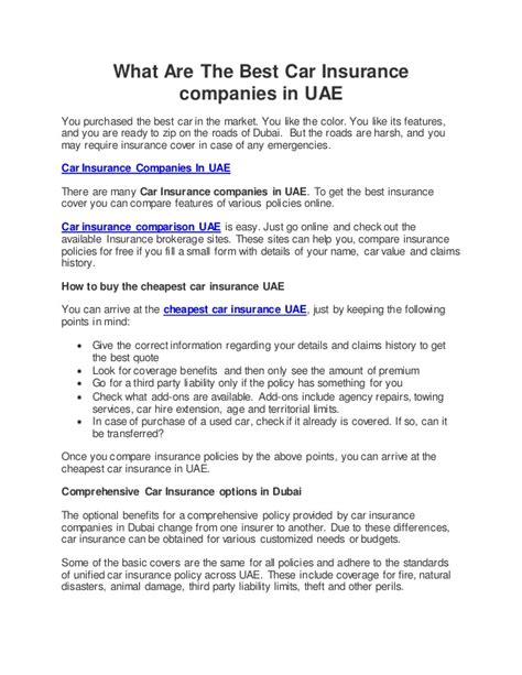 Vehicle Insurance Companies In Uae by What Are The Best Car Insurance Companies In Uae
