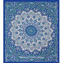 Indian Coverlet Queen White Amp Blue Indian Mandala Star Dorm Decor Hippie